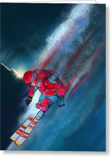 Sunset Extreme Ski Greeting Card