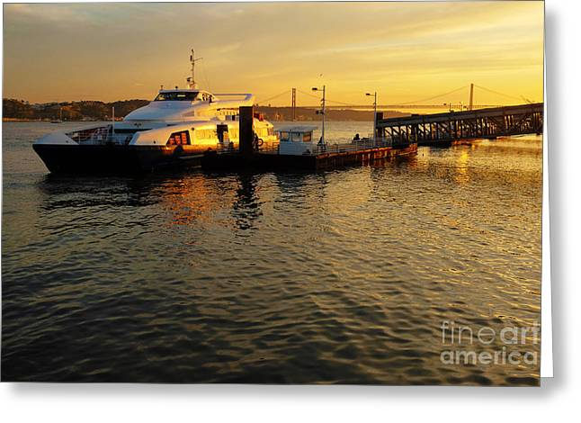 Sunset Ferryboat Greeting Card by Carlos Caetano