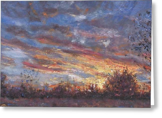 Sunset Fires Greeting Card by Horacio Prada