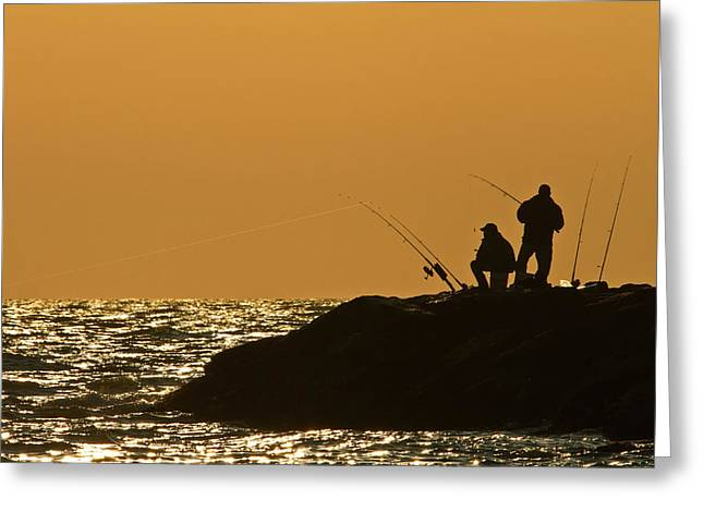 Sunset Fishermen Greeting Card