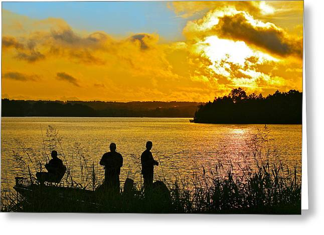 Sunset Fishermen Smith Mountain Lake Greeting Card by The American Shutterbug Society