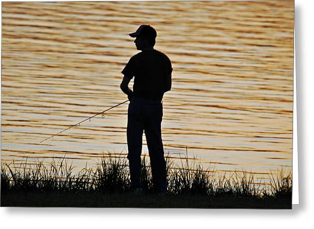 Greeting Card featuring the photograph Sunset Fishing by Teresa Blanton