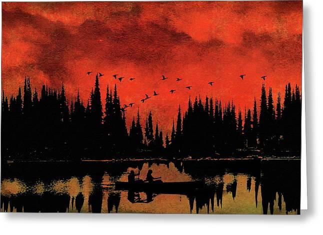 Sunset Flight Of The Ducks Greeting Card by Andrea Kollo