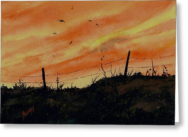 Sunset Flight Greeting Card by Sam Sidders