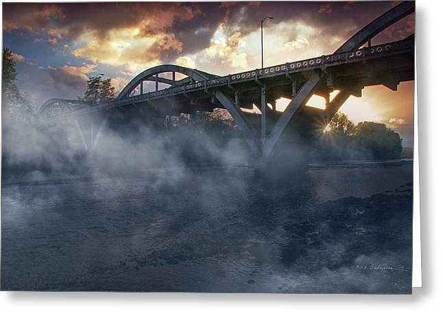 Sunset Fog At Caveman Bridge Greeting Card