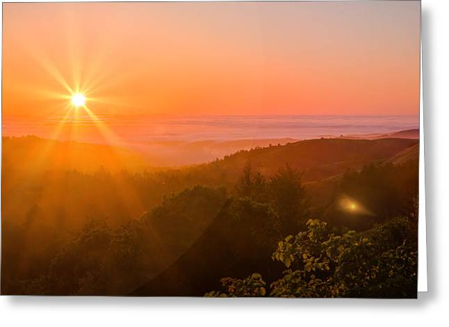 Sunset Fog Over The Pacific #1 Greeting Card