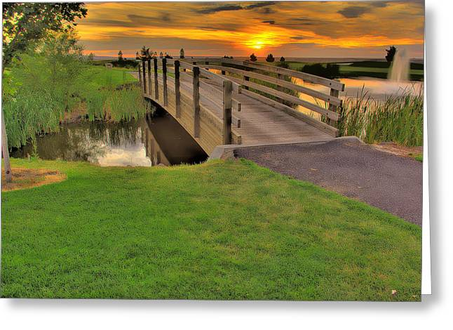 Sunset Foot Bridge Greeting Card by Dale Stillman