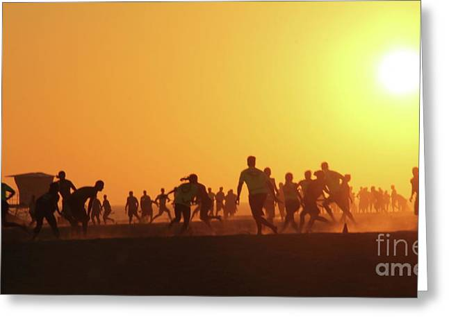 Sunset Football Huntington Beach Greeting Card