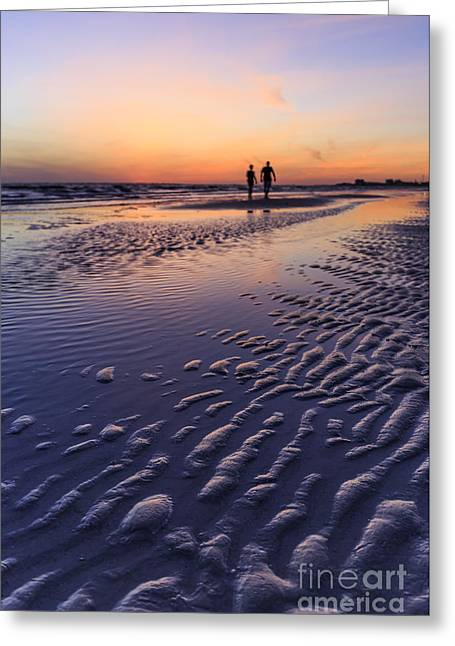 Sunset Fort Myers Beach Florida Greeting Card by Edward Fielding