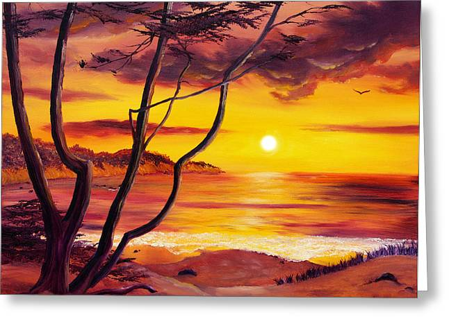 Sunset From A Carmel Cypress Tree  Greeting Card by Laura Iverson