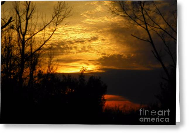 Sunset From Farm Greeting Card