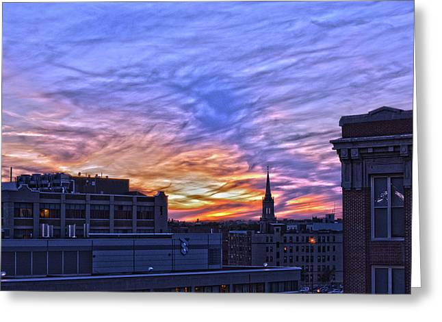 Sunset From Fenway Hdr Greeting Card by Bob LaForce