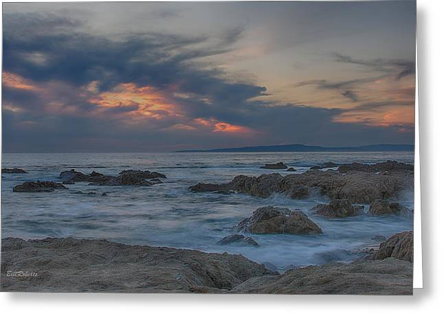 Sunset From Pacific Grove Greeting Card by Bill Roberts