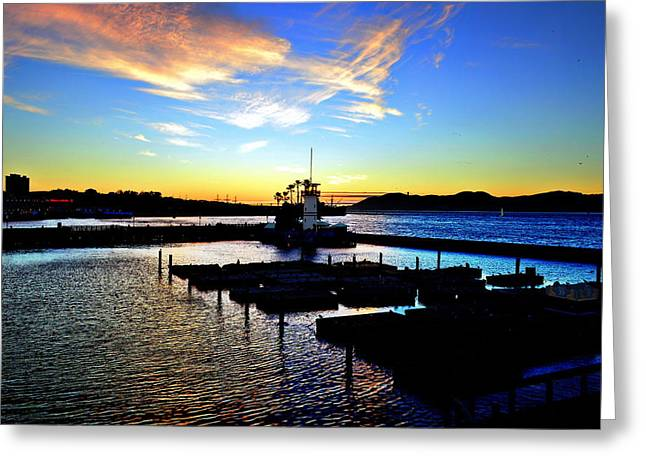 Sunset From Pier 39 - San Fransisco Greeting Card by Glenn McCarthy Art and Photography