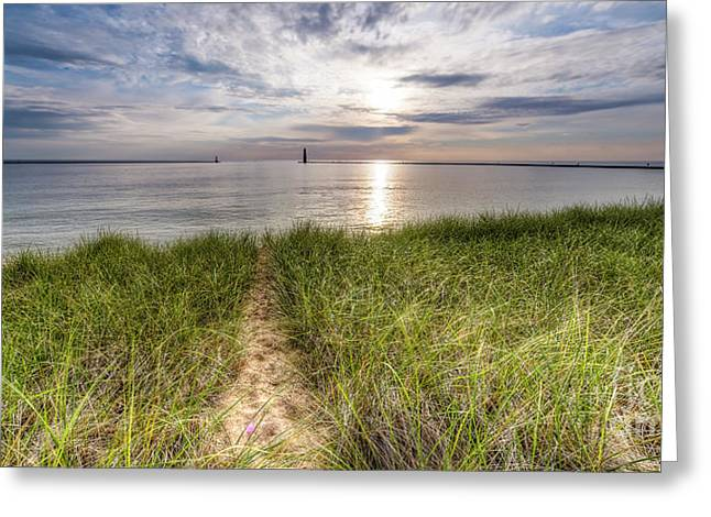 Sunset From The Beach In Frankfort Greeting Card