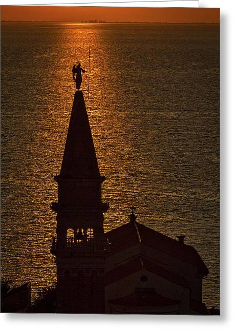 Sunset From The Walls #2 - Piran Slovenia Greeting Card