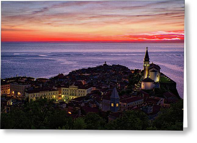 Greeting Card featuring the photograph Sunset From The Walls #3 - Piran Slovenia by Stuart Litoff