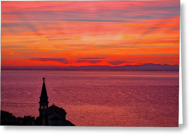Sunset From The Walls - Piran Slovenia Greeting Card