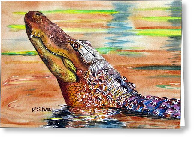Sunset Gator Greeting Card by Maria Barry