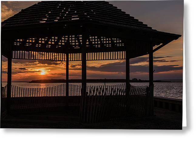 Sunset Gazebo Beach Haven Nj January 2017 Greeting Card