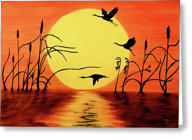 Sunset Geese Greeting Card by Teresa Wing