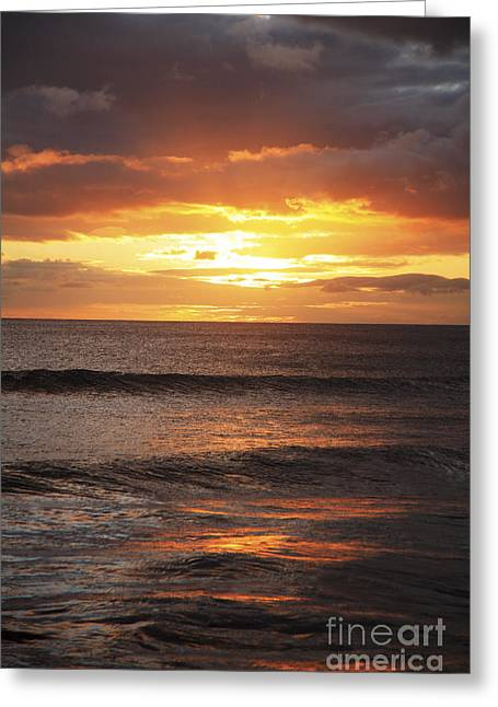 Sunset Glimmering On Ocean Greeting Card by Brandon Tabiolo - Printscapes
