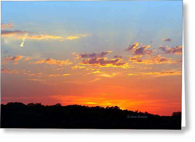Sunset Glory Orange Blue Greeting Card