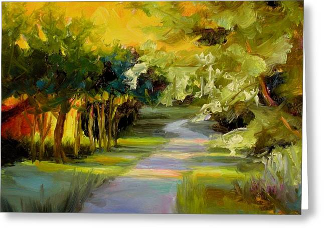 Greeting Card featuring the painting Sunset Glow by Chris Brandley
