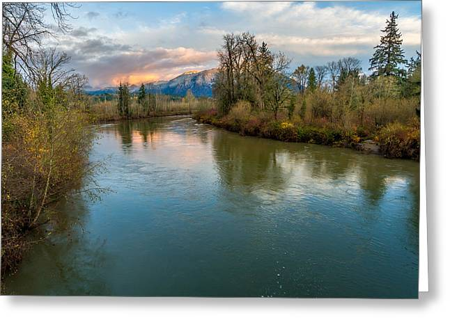 Sunset Glow Over The Snoqualmie River Greeting Card