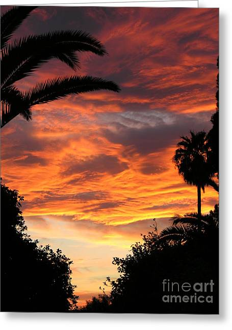 Sunset God's Fingers In Clouds  Greeting Card by Diane Greco-Lesser