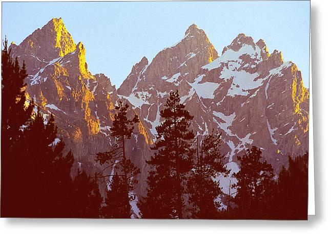 Sunset Gold Tetons Nat Greeting Card by Alan Lenk