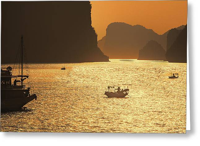 Chuck Kuhn Greeting Cards - Sunset Ha Long Bay III Greeting Card by Chuck Kuhn