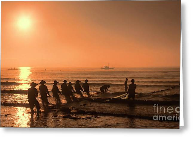 Sunset Hai Hau Vietnam  Greeting Card by Chuck Kuhn