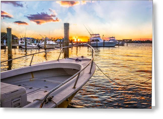 Sunset Harbor Greeting Card by Debra and Dave Vanderlaan