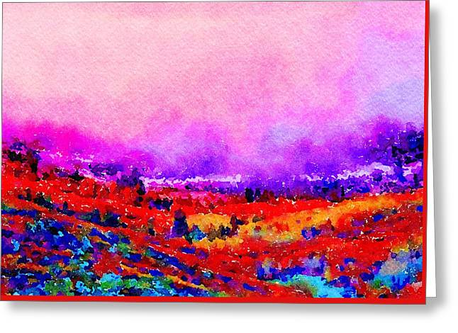 Greeting Card featuring the painting Sunset Hills by Angela Treat Lyon