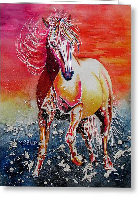Sunset Horse Greeting Card by Maria Barry
