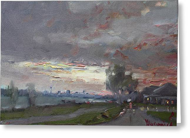Sunset In A Rainy Day Greeting Card by Ylli Haruni