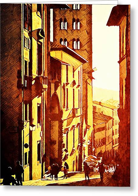 Sunset In Arezzo Greeting Card