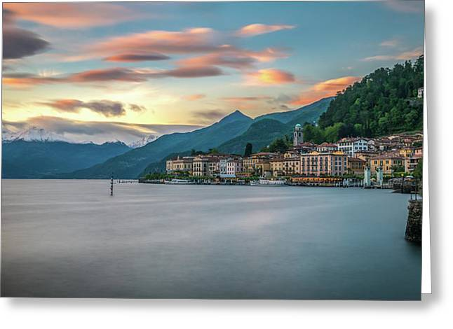 Sunset In Bellagio On Lake Como Greeting Card