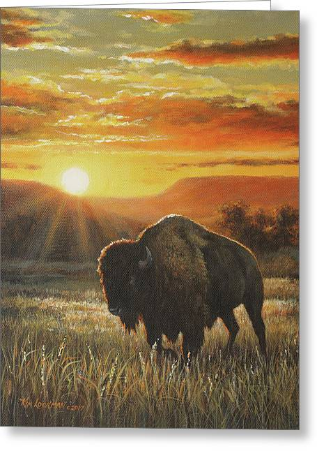 Sunset In Bison Country Greeting Card