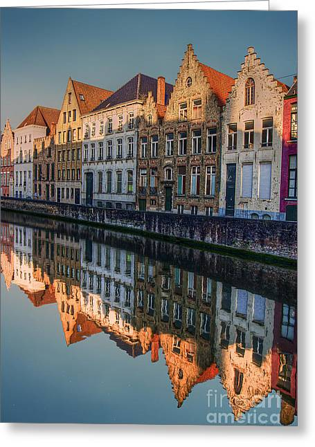 Sunset In Bruges Greeting Card