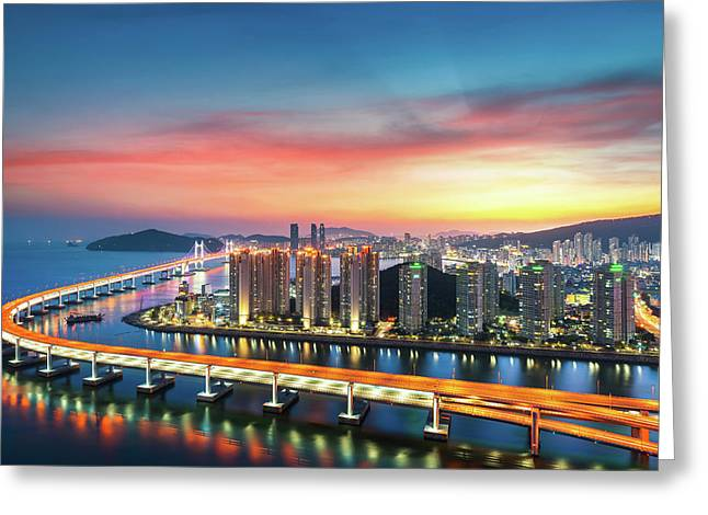 Sunset In Busan City With Building Greeting Card