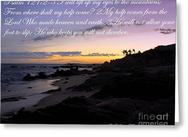 Sunset In Cabo My Help Comes From The Lord Greeting Card by Charlene Cox