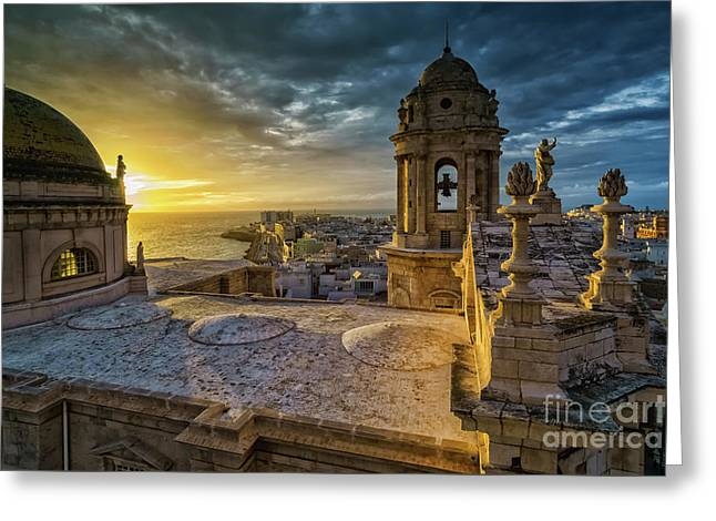 Greeting Card featuring the photograph Sunset In Cadiz Cathedral View From Levante Tower Cadiz Spain by Pablo Avanzini