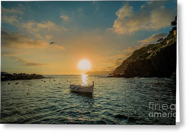 Sunset In Cinque Terre Greeting Card