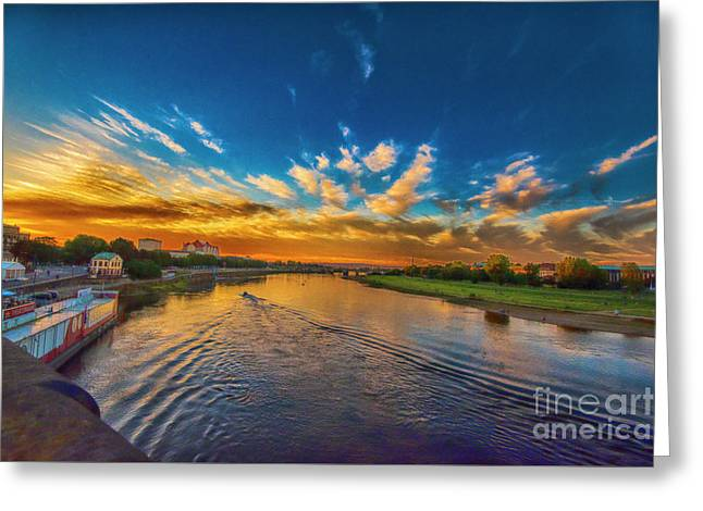 Sunset In Dresden Greeting Card