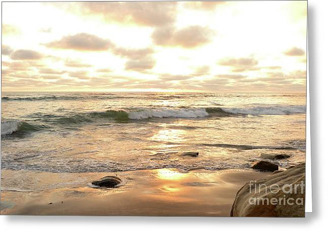Sunset In Golden Tones Torrey Pines Natural Preserves #2 Greeting Card