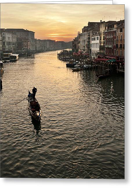 Sunset In Grand Canal Greeting Card by Marco Missiaja
