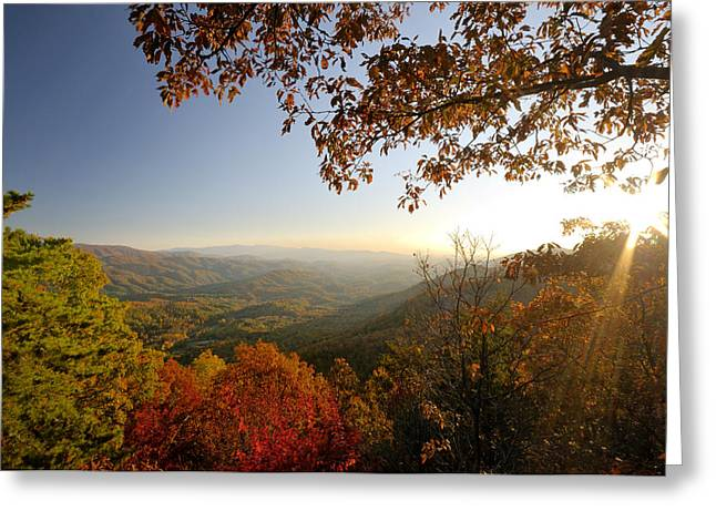Sunset In Great Smoky Mountains Greeting Card by Darrell Young