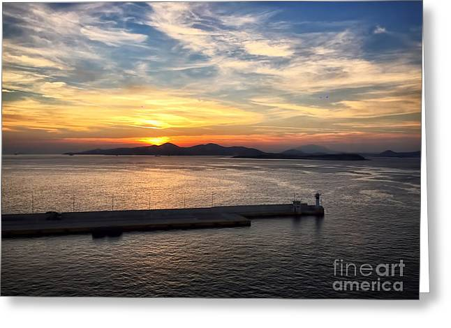 Sunset In Greece Greeting Card